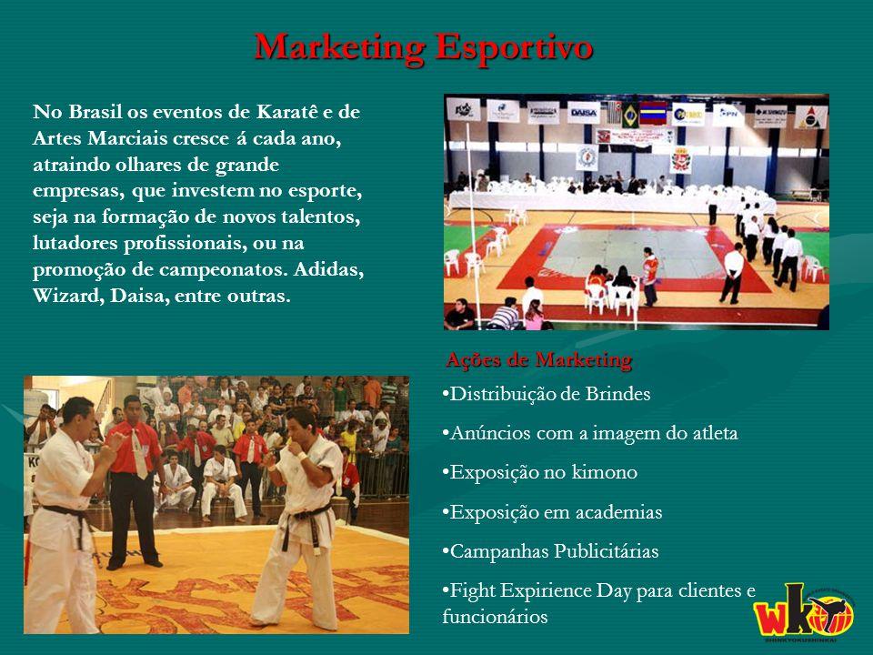Marketing Esportivo No Brasil os eventos de Karatê e de Artes Marciais cresce á cada ano, atraindo olhares de grande empresas, que investem no esporte, seja na formação de novos talentos, lutadores profissionais, ou na promoção de campeonatos.
