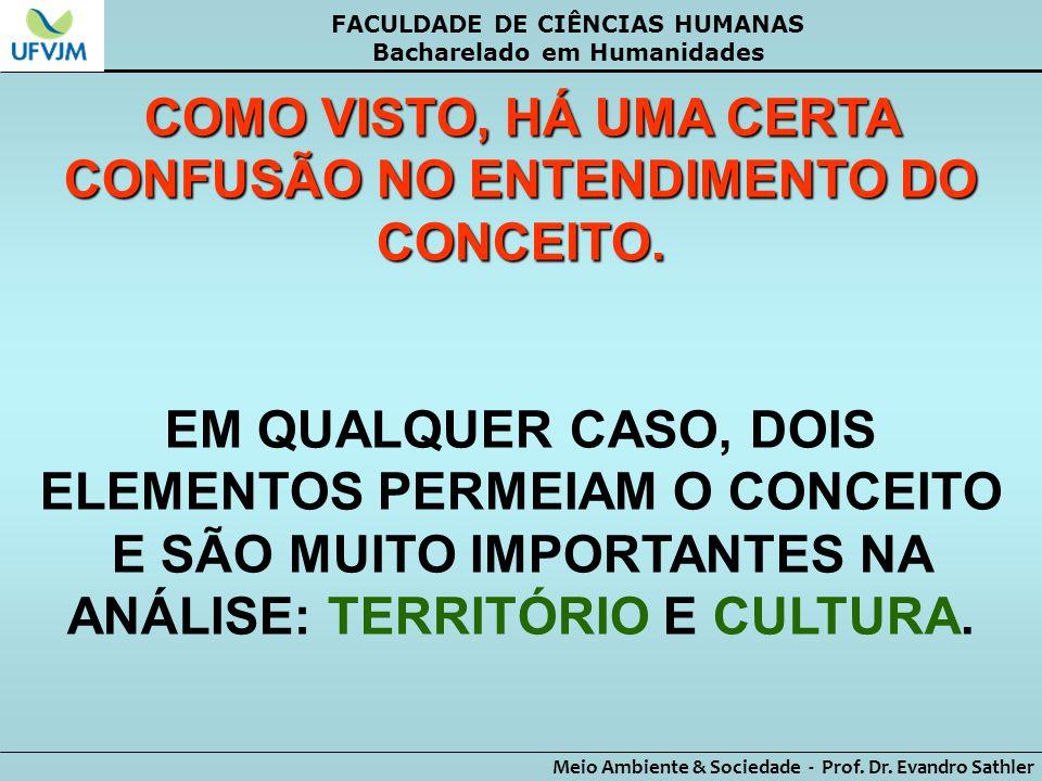 FACULDADE DE CIÊNCIAS HUMANAS Bacharelado em Humanidades Meio Ambiente & Sociedade - Prof. Dr. Evandro Sathler COMO VISTO, HÁ UMA CERTA CONFUSÃO NO EN