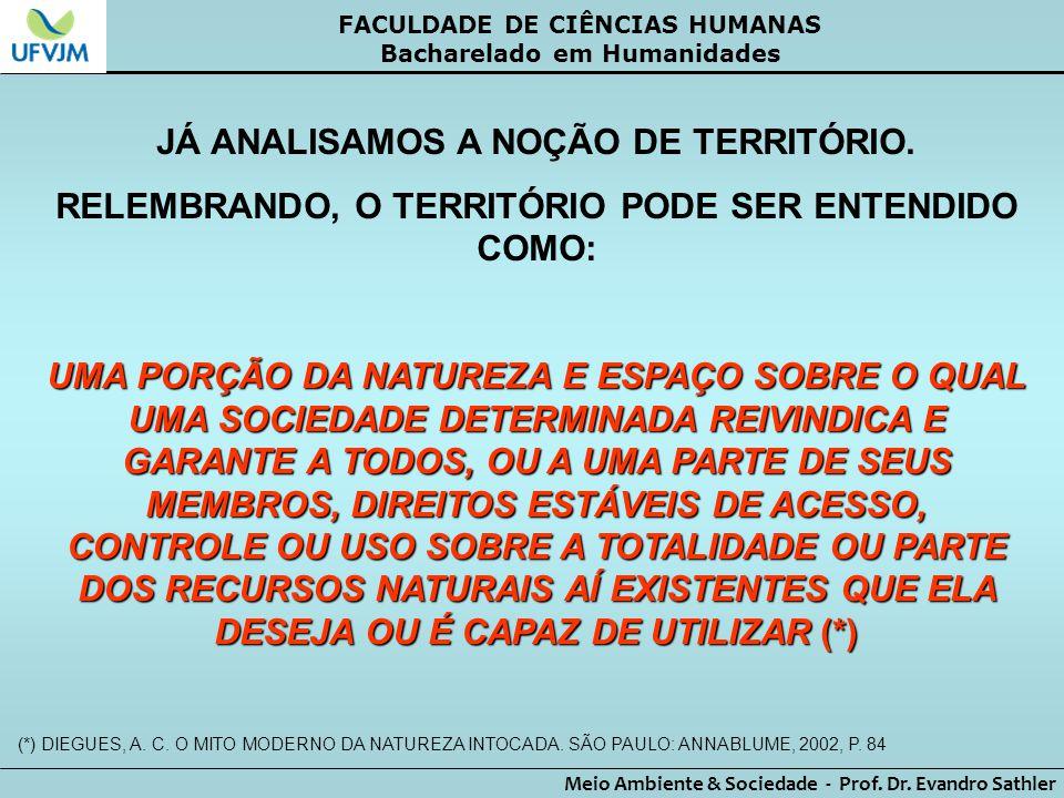 FACULDADE DE CIÊNCIAS HUMANAS Bacharelado em Humanidades Meio Ambiente & Sociedade - Prof. Dr. Evandro Sathler JÁ ANALISAMOS A NOÇÃO DE TERRITÓRIO. RE