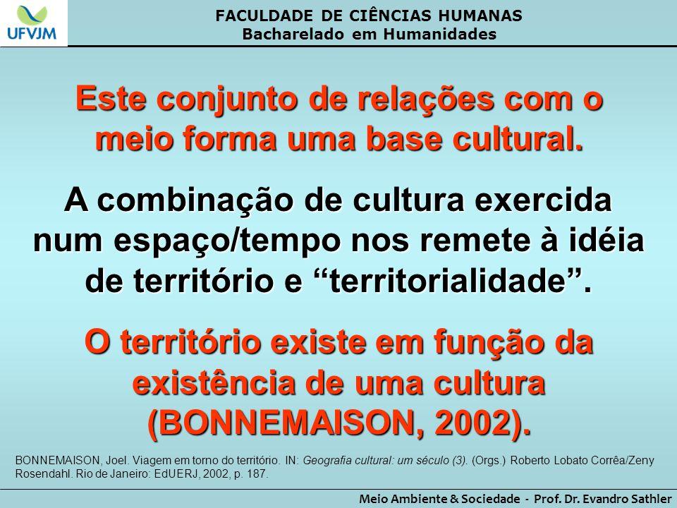 FACULDADE DE CIÊNCIAS HUMANAS Bacharelado em Humanidades Meio Ambiente & Sociedade - Prof. Dr. Evandro Sathler Este conjunto de relações com o meio fo