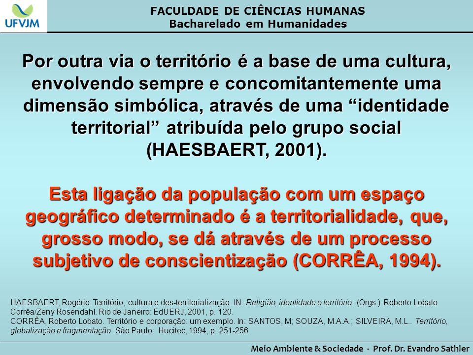 FACULDADE DE CIÊNCIAS HUMANAS Bacharelado em Humanidades Meio Ambiente & Sociedade - Prof. Dr. Evandro Sathler Por outra via o território é a base de