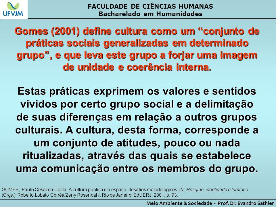 """FACULDADE DE CIÊNCIAS HUMANAS Bacharelado em Humanidades Meio Ambiente & Sociedade - Prof. Dr. Evandro Sathler Gomes (2001) define cultura como um """"co"""