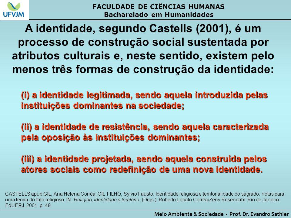 FACULDADE DE CIÊNCIAS HUMANAS Bacharelado em Humanidades Meio Ambiente & Sociedade - Prof. Dr. Evandro Sathler A identidade, segundo Castells (2001),