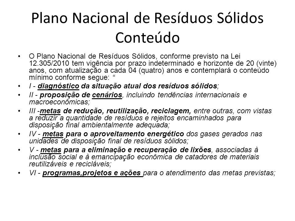 Plano Nacional • O Plano Nacional foi elaborado, aprovado e apreciado no CONAMA, CNRH e CCid e está pendente de aprovação na Conselho Nacional de Polí