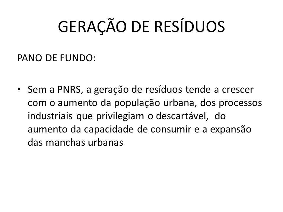 GERAÇÃO DE RESÍDUOS PANO DE FUNDO: • Sem a PNRS, a geração de resíduos tende a crescer com o aumento da população urbana, dos processos industriais que privilegiam o descartável, do aumento da capacidade de consumir e a expansão das manchas urbanas