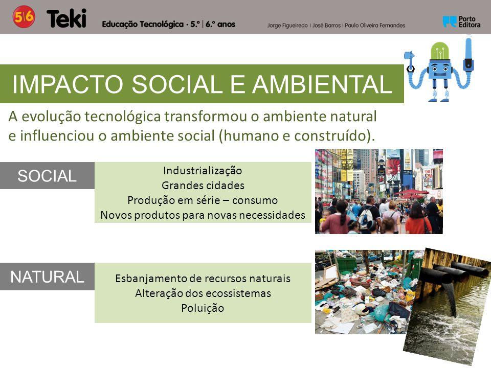 A evolução tecnológica transformou o ambiente natural e influenciou o ambiente social (humano e construído). IMPACTO SOCIAL E AMBIENTAL NATURAL SOCIAL