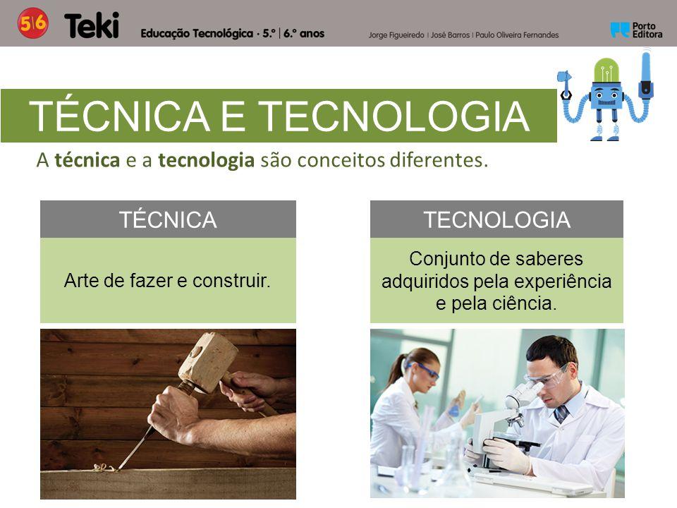 TÉCNICA E TECNOLOGIA TÉCNICATECNOLOGIA Arte de fazer e construir. Conjunto de saberes adquiridos pela experiência e pela ciência. A técnica e a tecnol