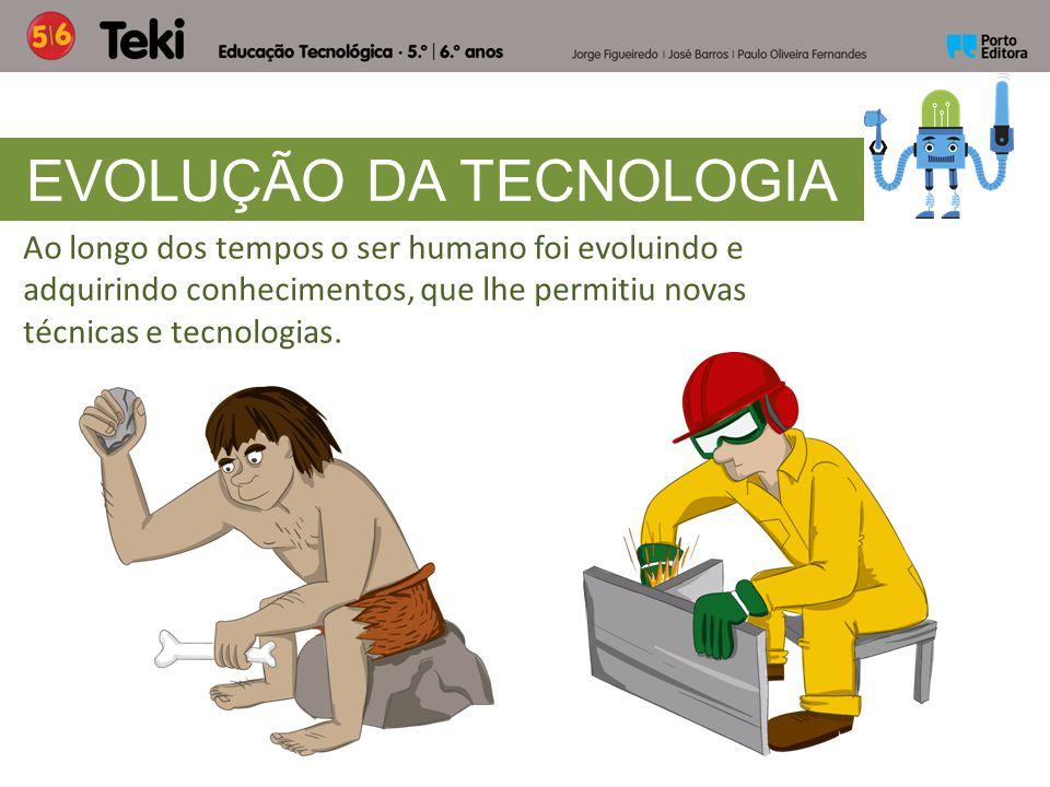 Ao longo dos tempos o ser humano foi evoluindo e adquirindo conhecimentos, que lhe permitiu novas técnicas e tecnologias. EVOLUÇÃO DA TECNOLOGIA