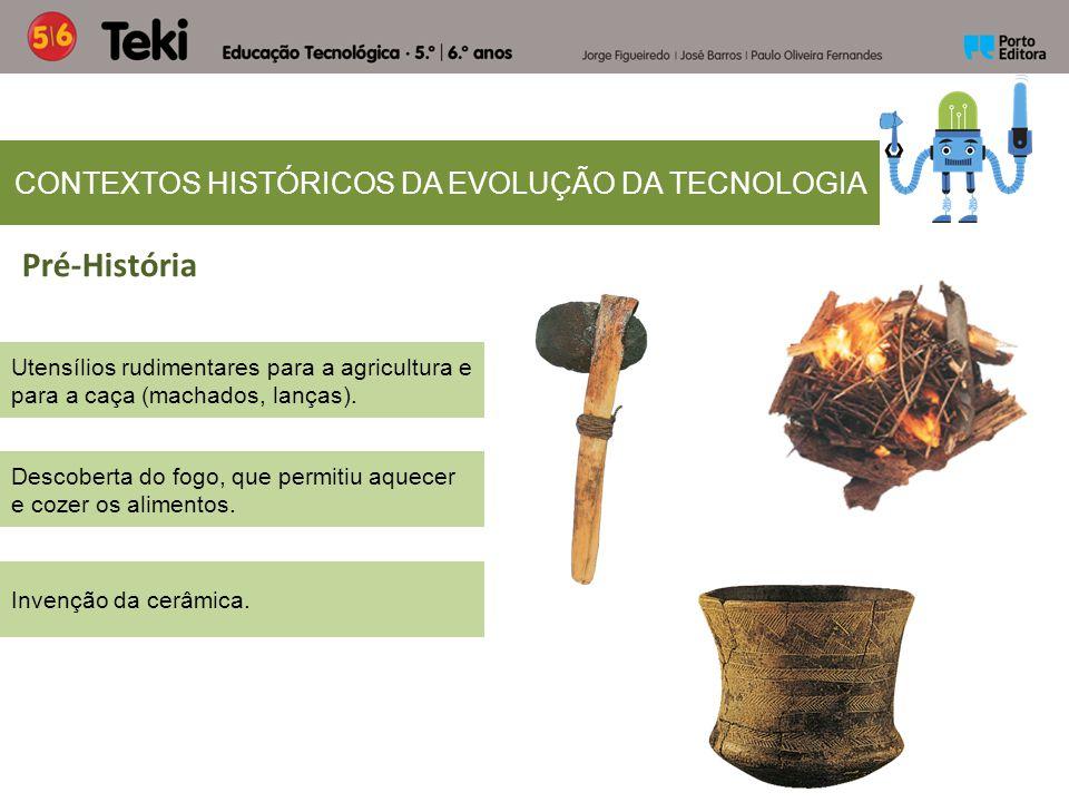 CONTEXTOS HISTÓRICOS DA EVOLUÇÃO DA TECNOLOGIA Utensílios rudimentares para a agricultura e para a caça (machados, lanças). Pré-História Descoberta do