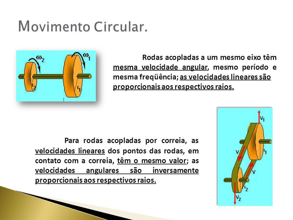 Rodas acopladas a um mesmo eixo têm mesma velocidade angular, mesmo período e mesma freqüência; as velocidades lineares são proporcionais aos respectivos raios.