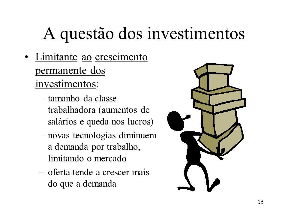 16 A questão dos investimentos •Limitante ao crescimento permanente dos investimentos: –tamanho da classe trabalhadora (aumentos de salários e queda n