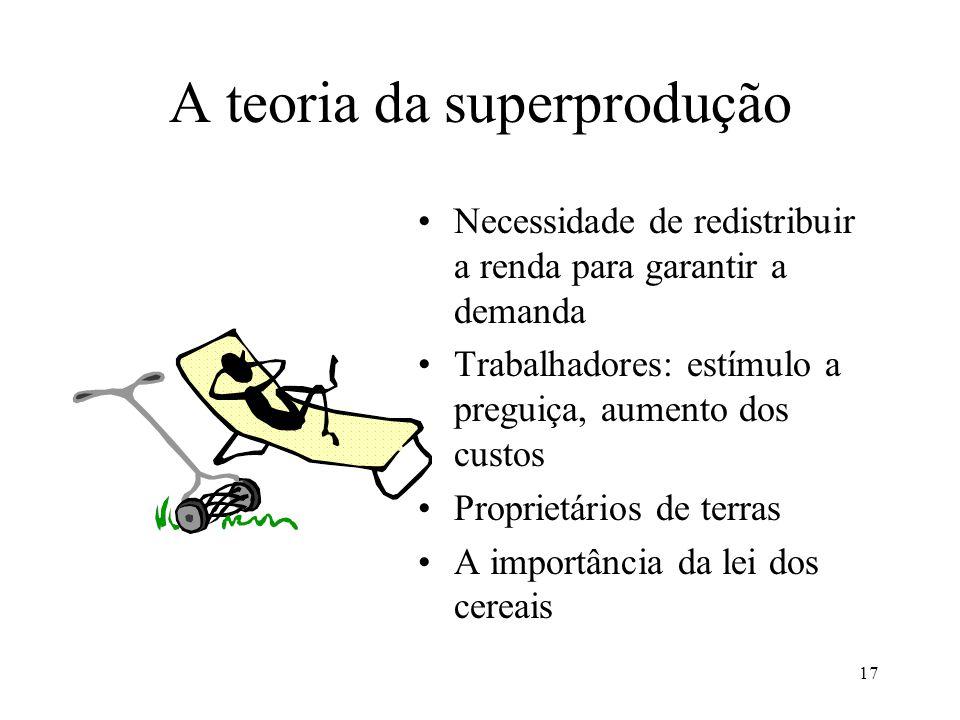 17 A teoria da superprodução •Necessidade de redistribuir a renda para garantir a demanda •Trabalhadores: estímulo a preguiça, aumento dos custos •Pro