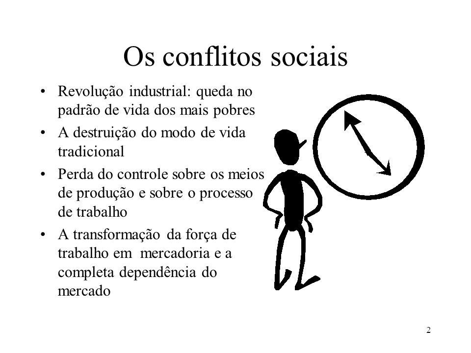 2 Os conflitos sociais •Revolução industrial: queda no padrão de vida dos mais pobres •A destruição do modo de vida tradicional •Perda do controle sob