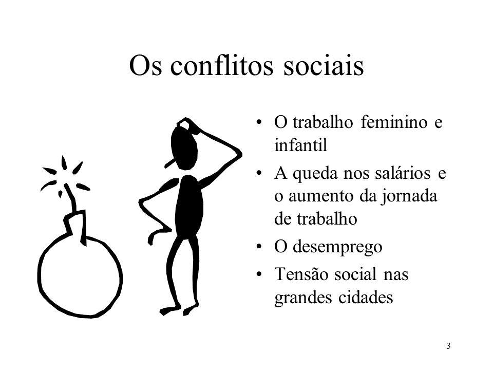 3 Os conflitos sociais •O trabalho feminino e infantil •A queda nos salários e o aumento da jornada de trabalho •O desemprego •Tensão social nas grand