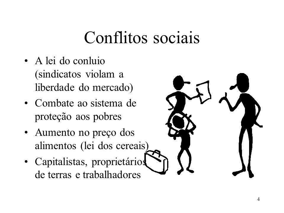 4 Conflitos sociais •A lei do conluio (sindicatos violam a liberdade do mercado) •Combate ao sistema de proteção aos pobres •Aumento no preço dos alim