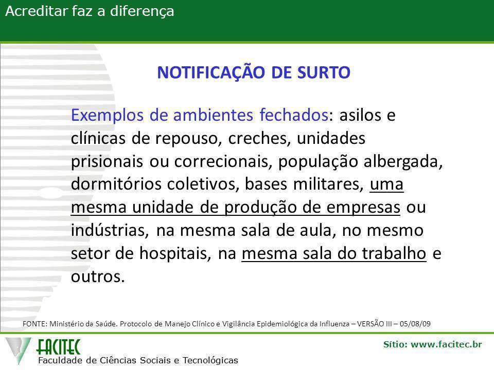 Faculdade de Ciências Sociais e Tecnológicas Sítio: www.facitec.br Acreditar faz a diferença Faculdade de Ciências Sociais e Tecnológicas FONTE: Ministério da Saúde.