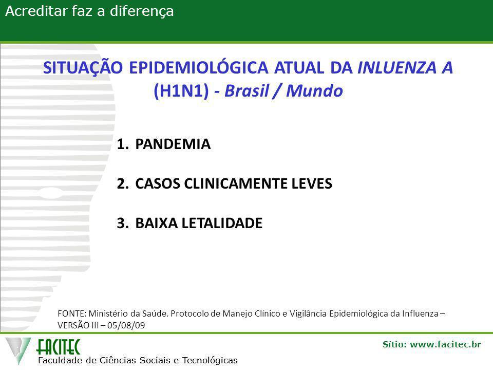 Faculdade de Ciências Sociais e Tecnológicas Sítio: www.facitec.br Acreditar faz a diferença Faculdade de Ciências Sociais e Tecnológicas SITUAÇÃO EPIDEMIOLÓGICA ATUAL DA INLUENZA A (H1N1) - Brasil / Mundo 1.PANDEMIA 2.CASOS CLINICAMENTE LEVES 3.BAIXA LETALIDADE FONTE: Ministério da Saúde.