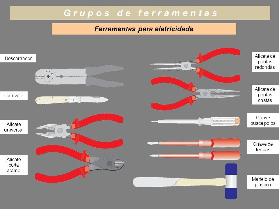 G r u p o s d e f e r r a m e n t a s Ferramentas para eletricidade Descarnador Canivete Alicate universal Alicate corta arame Alicate de pontas chata