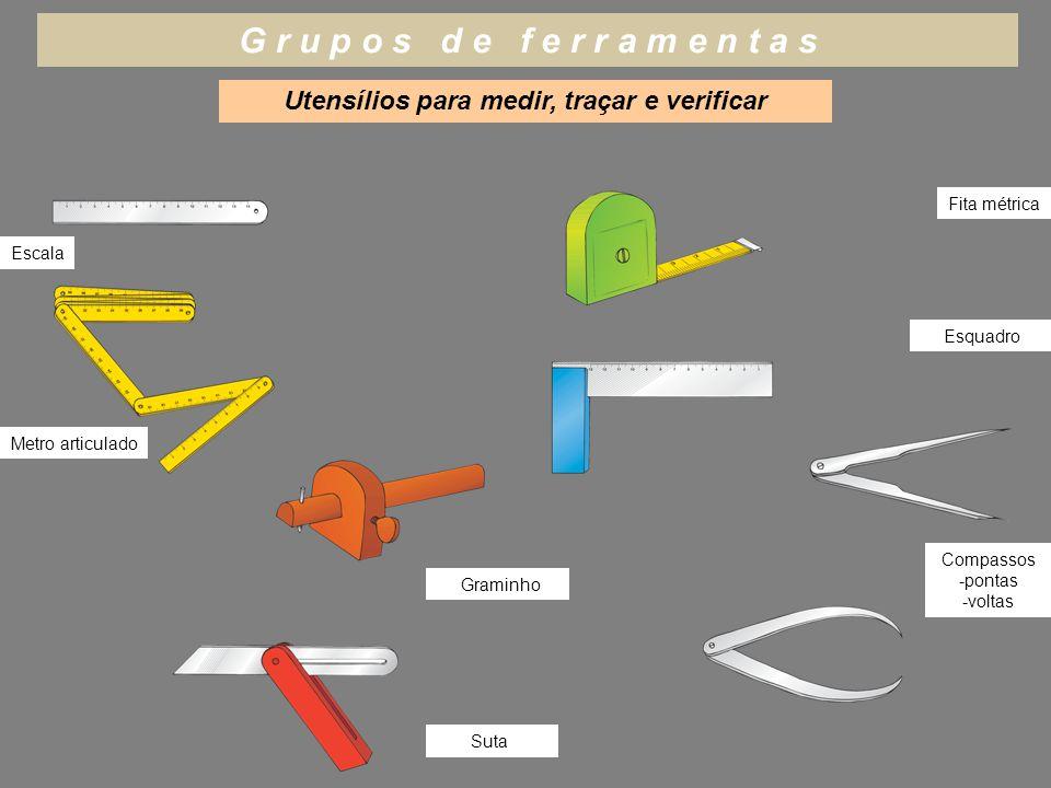 Utensílios para medir, traçar e verificar G r u p o s d e f e r r a m e n t a s Escala Metro articulado Fita métrica Esquadro Graminho Suta Compassos