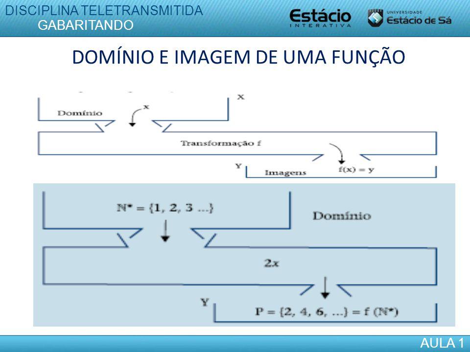DOMÍNIO E IMAGEM DE UMA FUNÇÃO DISCIPLINA TELETRANSMITIDA AULA 1 GABARITANDO