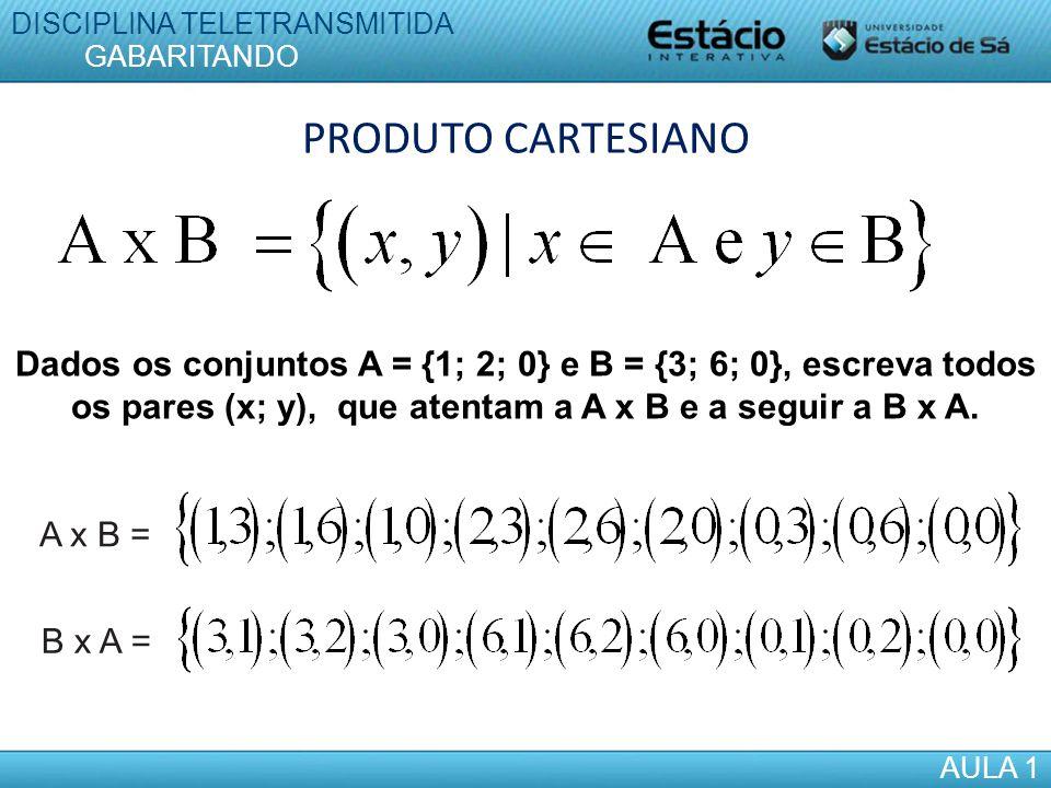 PRODUTO CARTESIANO Dados os conjuntos A = {1; 2; 0} e B = {3; 6; 0}, escreva todos os pares (x; y), que atentam a A x B e a seguir a B x A. A x B = B