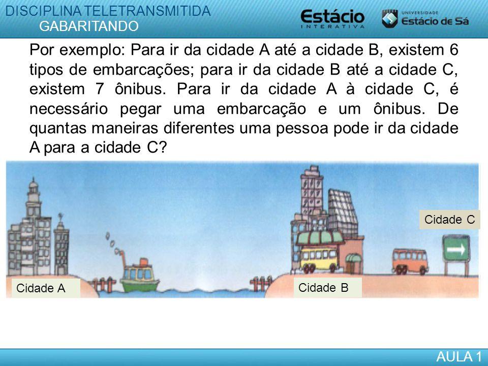 Por exemplo: Para ir da cidade A até a cidade B, existem 6 tipos de embarcações; para ir da cidade B até a cidade C, existem 7 ônibus. Para ir da cida