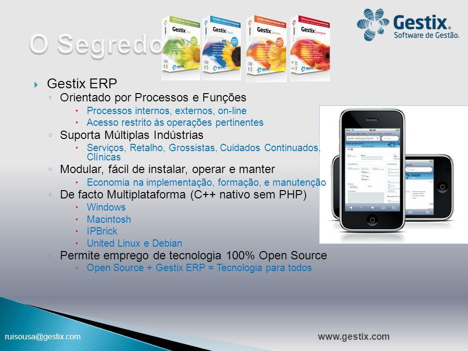 ruisousa@gestix.com  Gestix ERP ◦ Orientado por Processos e Funções  Processos internos, externos, on-line  Acesso restrito às operações pertinente