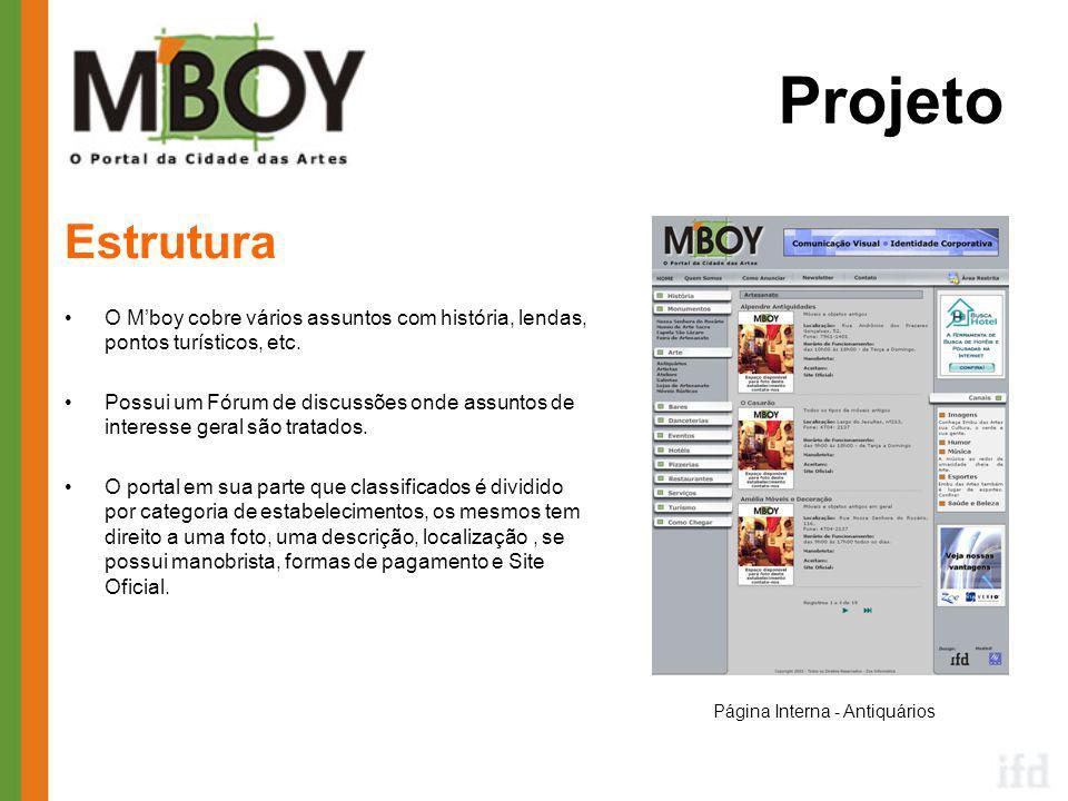 Projeto Estrutura •O M'boy cobre vários assuntos com história, lendas, pontos turísticos, etc.