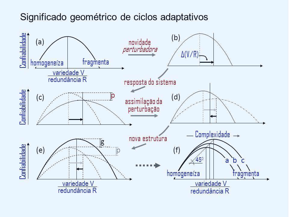 novidade perturbadora Δ(V/R) (b) Confiabilidade (a) homogeneíza fragmenta variedade V redundância R resposta do sistema p (c) Confiabilidade nova estrutura g p (e) variedade V redundância R Confiabilidade 45 0 (f) homogeneíza fragmenta abc variedade V redundância R Complexidade Significado geométrico de ciclos adaptativos assimilação da perturbação (d)
