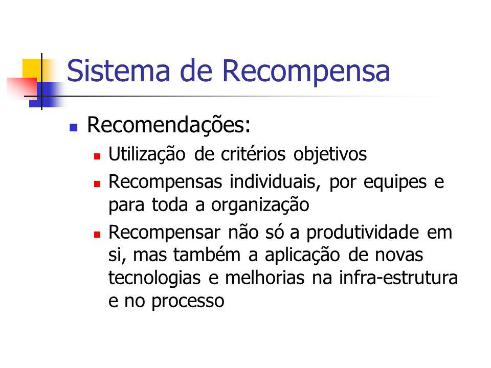 Sistema de Recompensa  Recomendações:  Utilização de critérios objetivos  Recompensas individuais, por equipes e para toda a organização  Recompen