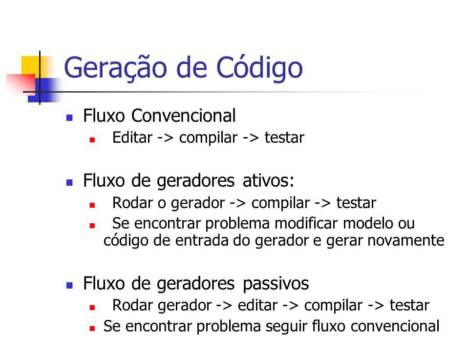 Geração de Código  Fluxo Convencional  Editar -> compilar -> testar  Fluxo de geradores ativos:  Rodar o gerador -> compilar -> testar  Se encont