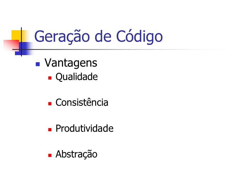 Geração de Código  Vantagens  Qualidade  Consistência  Produtividade  Abstração