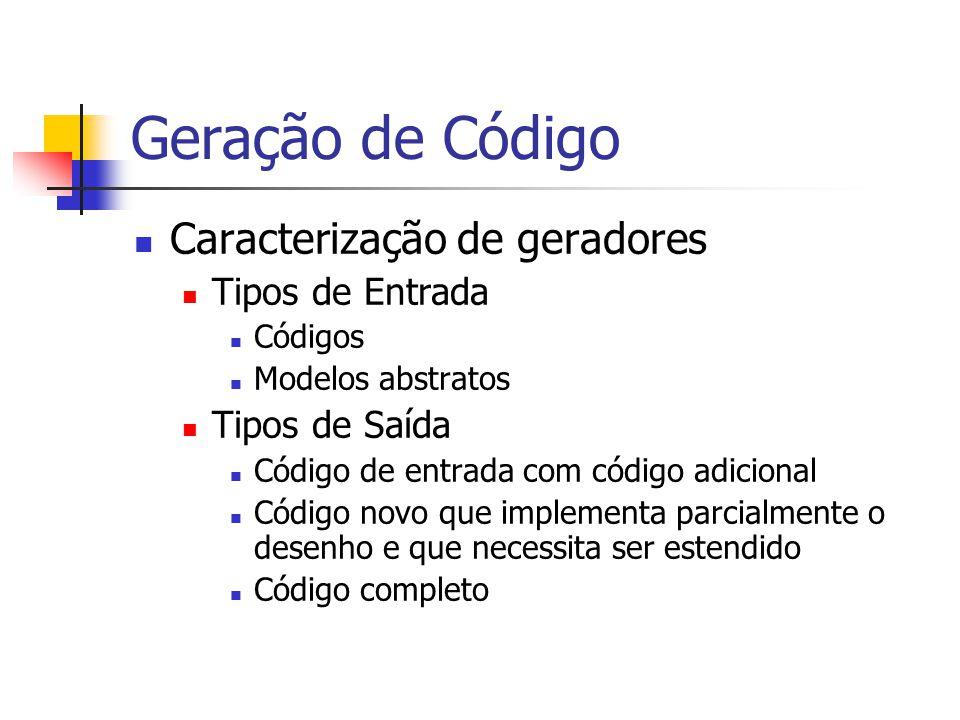 Geração de Código  Caracterização de geradores  Tipos de Entrada  Códigos  Modelos abstratos  Tipos de Saída  Código de entrada com código adici