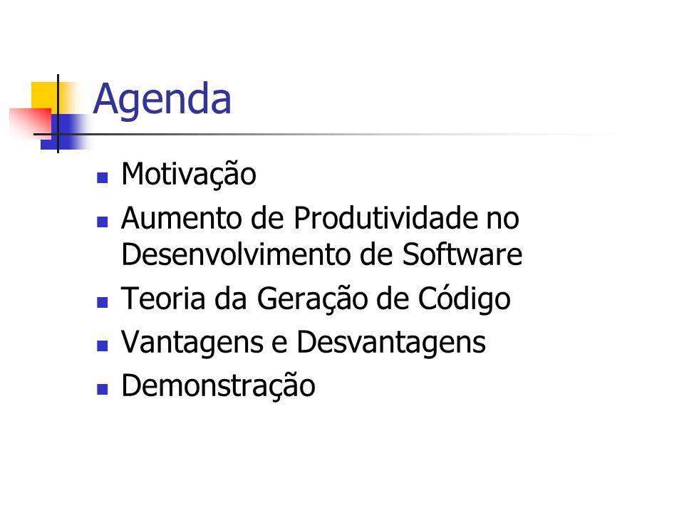 Agenda  Motivação  Aumento de Produtividade no Desenvolvimento de Software  Teoria da Geração de Código  Vantagens e Desvantagens  Demonstração