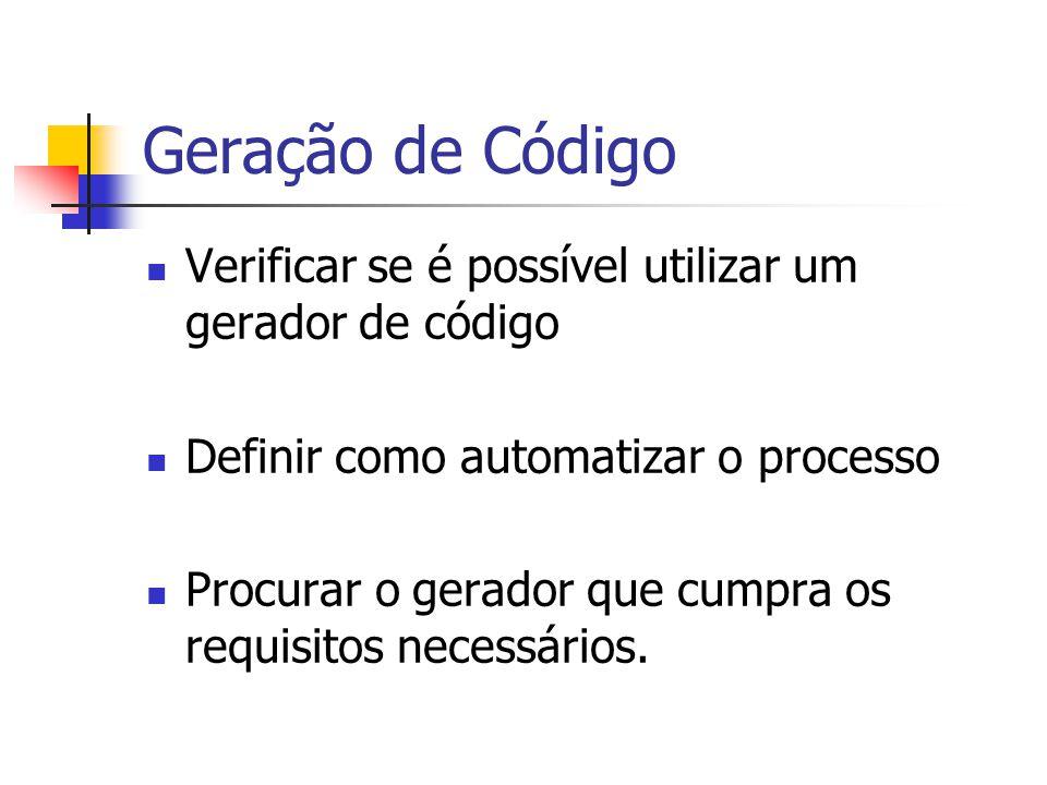 Geração de Código  Verificar se é possível utilizar um gerador de código  Definir como automatizar o processo  Procurar o gerador que cumpra os req