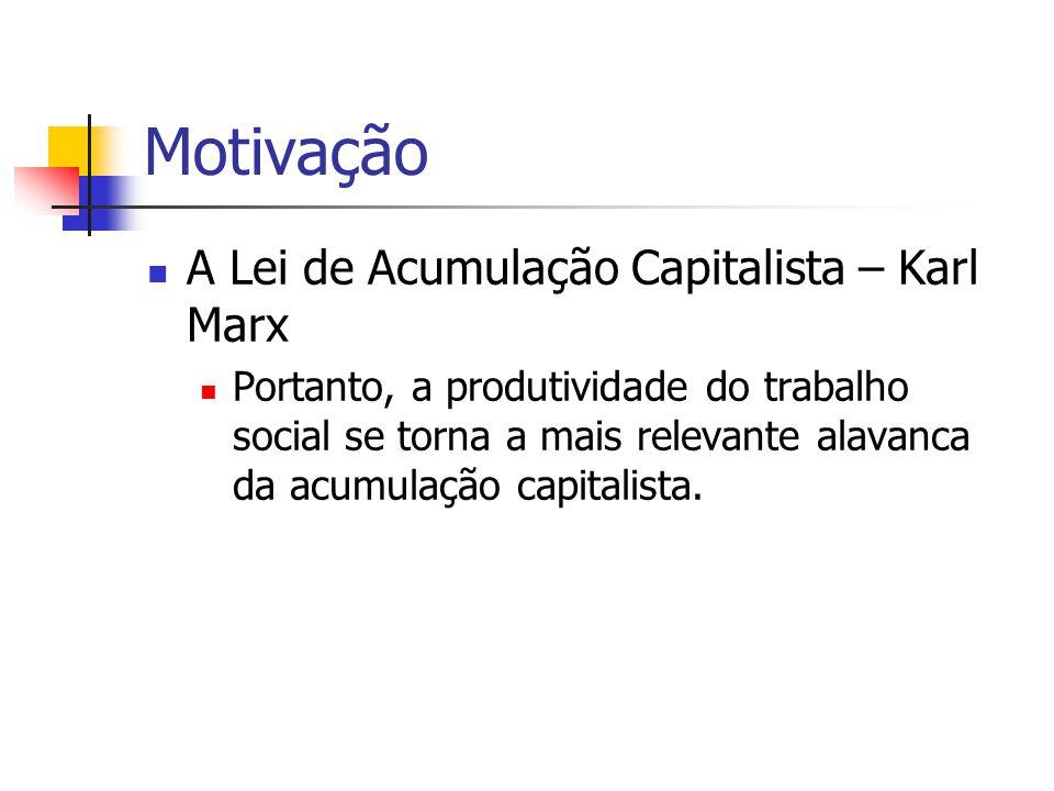 Motivação  A Lei de Acumulação Capitalista – Karl Marx  Portanto, a produtividade do trabalho social se torna a mais relevante alavanca da acumulaçã
