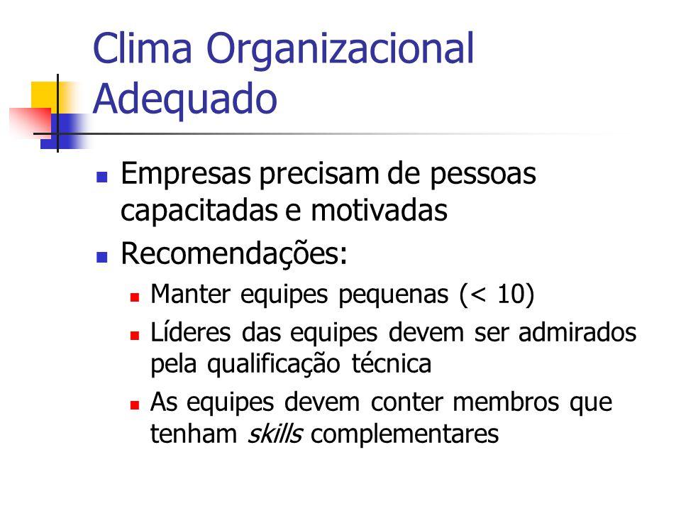 Clima Organizacional Adequado  Empresas precisam de pessoas capacitadas e motivadas  Recomendações:  Manter equipes pequenas (< 10)  Líderes das e