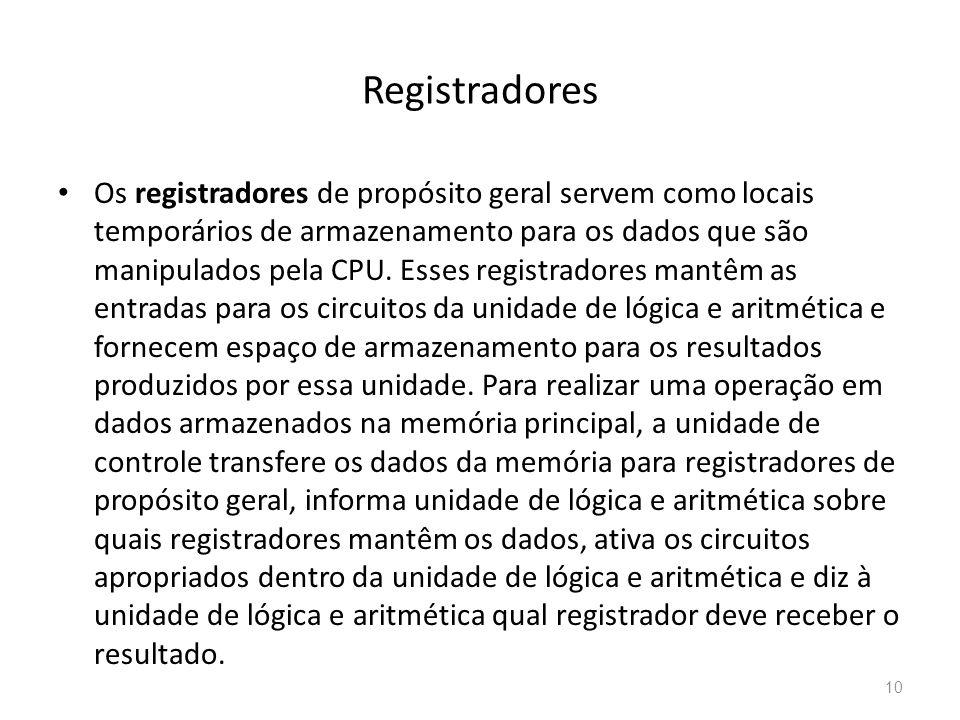 Registradores • Os registradores de propósito geral servem como locais temporários de armazenamento para os dados que são manipulados pela CPU.