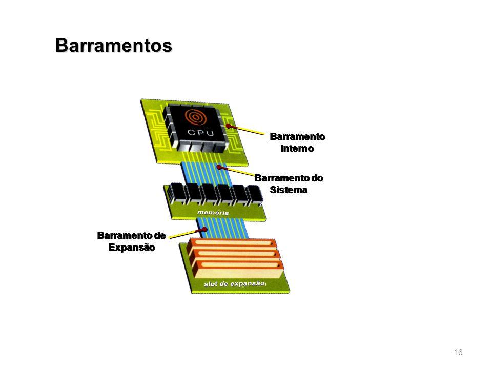 Barramentos 16 Barramento Interno Barramento do Sistema Barramento de Expansão