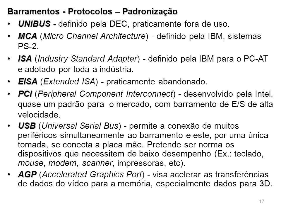 Barramentos - Protocolos – Padronização •UNIBUS - •UNIBUS - definido pela DEC, praticamente fora de uso.