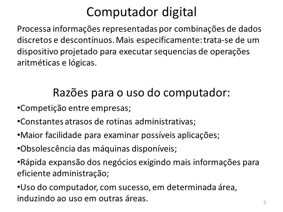 Computador digital Processa informações representadas por combinações de dados discretos e descontínuos.