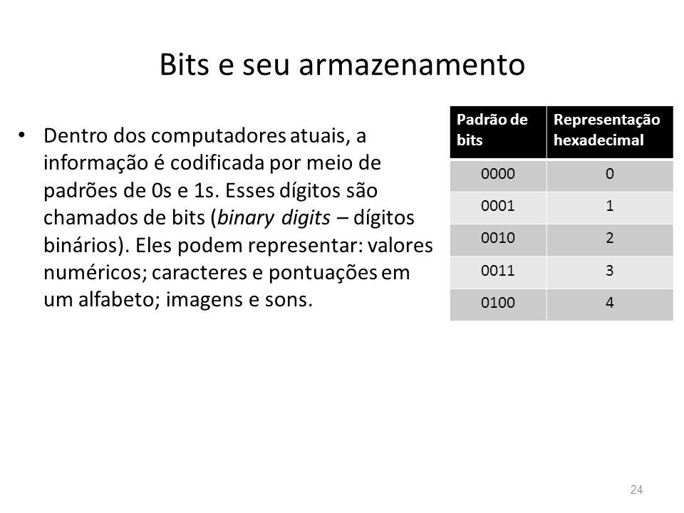 Bits e seu armazenamento • Dentro dos computadores atuais, a informação é codificada por meio de padrões de 0s e 1s.