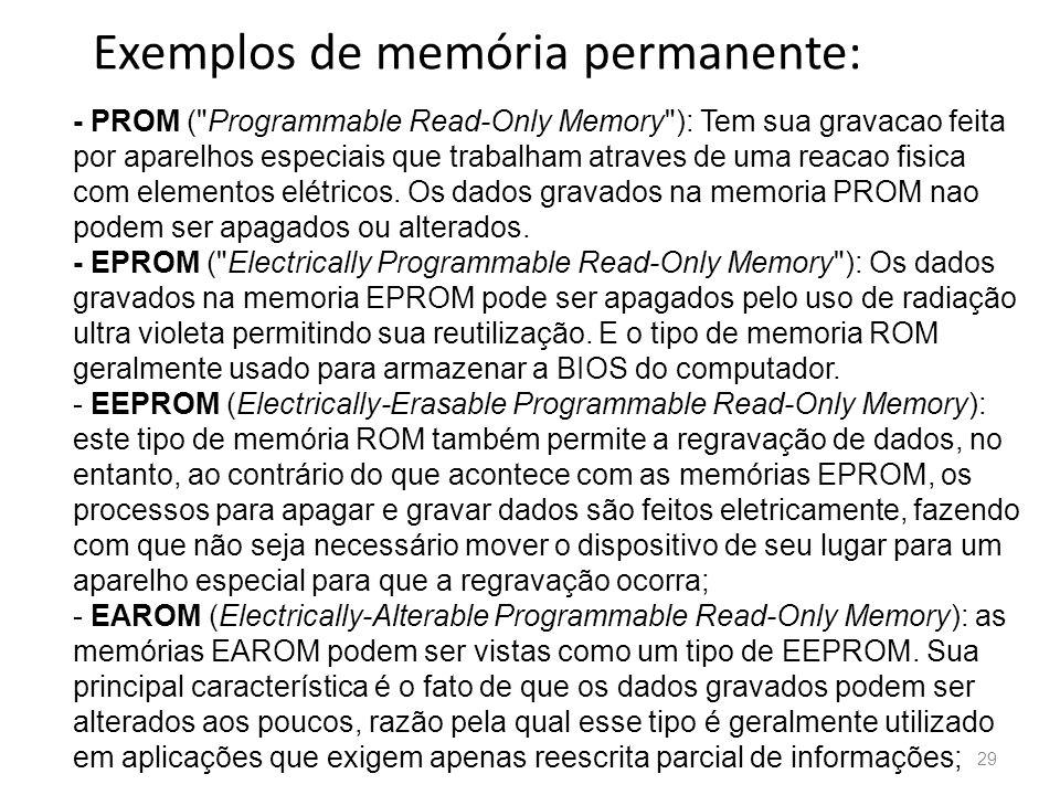 Exemplos de memória permanente: 29 - PROM ( Programmable Read-Only Memory ): Tem sua gravacao feita por aparelhos especiais que trabalham atraves de uma reacao fisica com elementos elétricos.