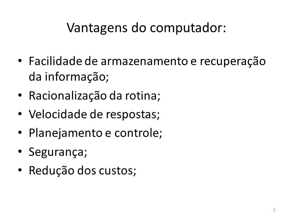 Vantagens do computador: • Facilidade de armazenamento e recuperação da informação; • Racionalização da rotina; • Velocidade de respostas; • Planejamento e controle; • Segurança; • Redução dos custos; 3