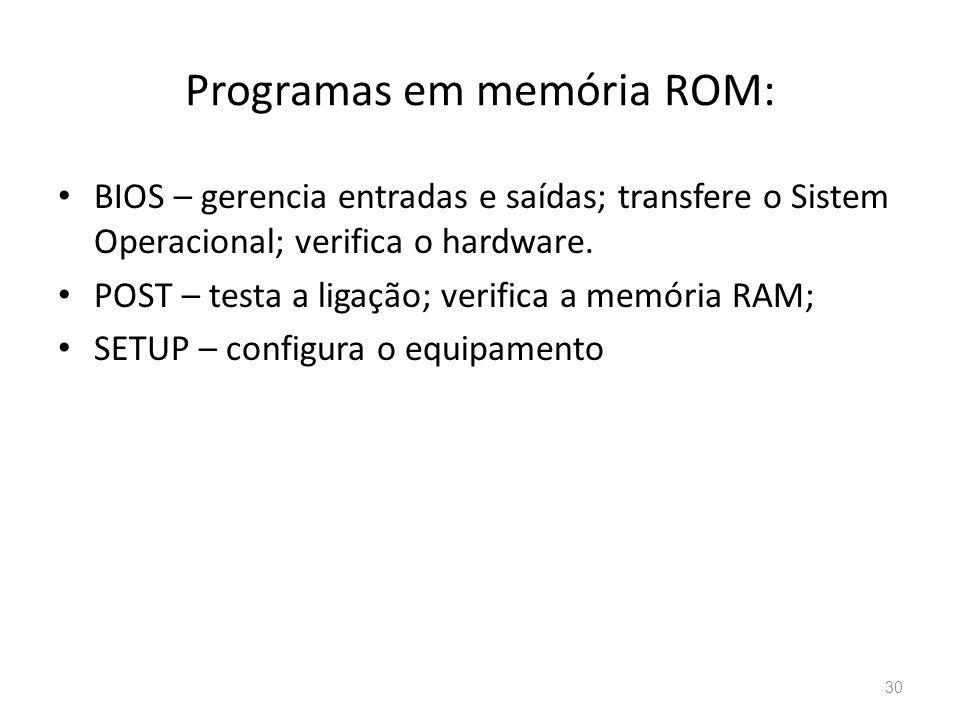 Programas em memória ROM: • BIOS – gerencia entradas e saídas; transfere o Sistem Operacional; verifica o hardware.