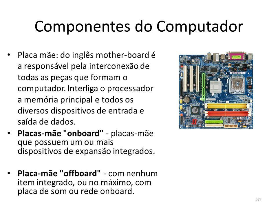 Componentes do Computador • Placa mãe: do inglês mother-board é a responsável pela interconexão de todas as peças que formam o computador.