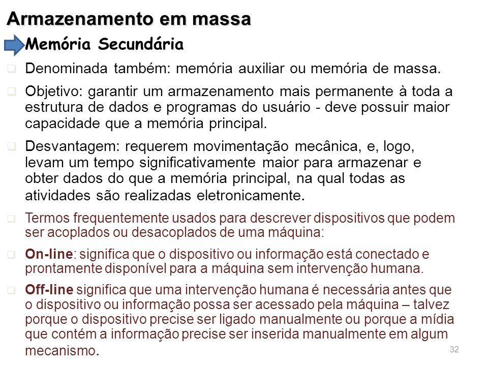 Armazenamento em massa Memória Secundária  Denominada também: memória auxiliar ou memória de massa.