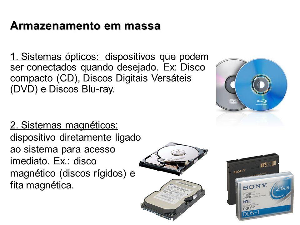 Armazenamento em massa 1.Sistemas ópticos: dispositivos que podem ser conectados quando desejado.