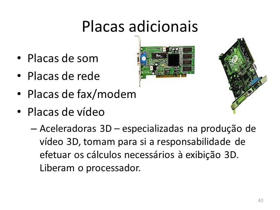 Placas adicionais • Placas de som • Placas de rede • Placas de fax/modem • Placas de vídeo – Aceleradoras 3D – especializadas na produção de vídeo 3D, tomam para si a responsabilidade de efetuar os cálculos necessários à exibição 3D.