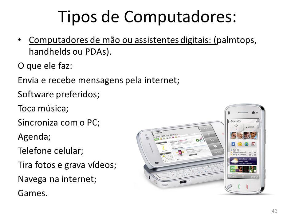 Tipos de Computadores: • Computadores de mão ou assistentes digitais: (palmtops, handhelds ou PDAs).